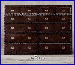 Restoration Hardware Marseilles Leather Chest of Drawers 12 Drawers Brown Leathe