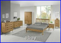 Retro Augusta Solid Waxed Pine 4 Drawer Tall Narrow Chest of Drawers Tallboy