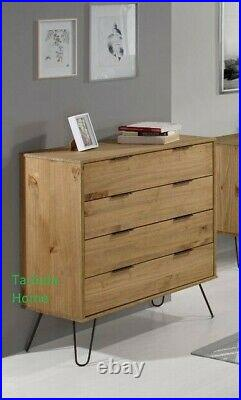 Retro Augusta Solid Wood Waxed Pine Chest of Drawers Metal Legs 4 Drawer Chest