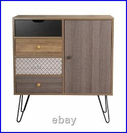 Retro Sideboard / Vintage Chest / Paisley Grey Cabinet Cupboard / Wood Drawers