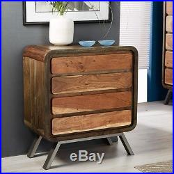 Retro Vintage Industrial 4 Drawer Chest New Sideboard Cabinet Solid Wood Steel