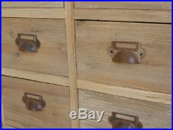 Retro Wooden 9 Drawer Chest Fir Wood Cabinet Vintage Storage Side Unit Table New
