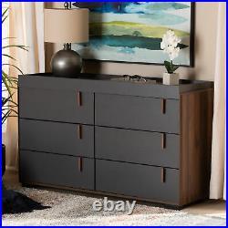 Rikke Modern Two-Tone Gray/Walnut-Finished Wood 6-Drawer Dresser Storage Chest
