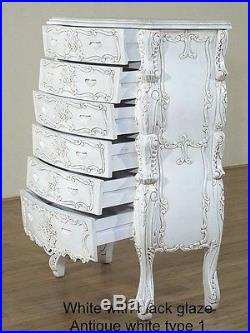 Rococo Tallboy. Handcrafted mahogany wood high chest of drawers style