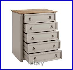 Rustic Chest Drawers Large Storage Cabinet Solid Wood Sideboard Bedroom Unit