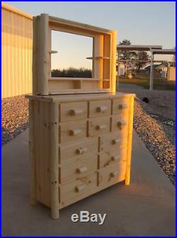 Rustic Log 12 drawer dresser pine unfinished bed cedar furniture chest