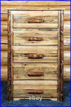 Rustic Log 5 Drawer Dresser Amish Made Solid Wood Chest of Drawers Varnished