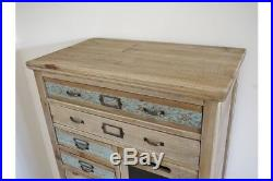 Rustic Tall Wood Multi Drawer Cabinet / Chest Vintage Text Plates / Chalk Board