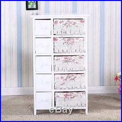 SUNCOO Bedroom Storage Dresser Chest 5 Drawers with Wicker Baskets Cabinet Wood