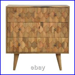 Scandinavian Style Carved Front Chest Of Drawers With Mid Century Legs