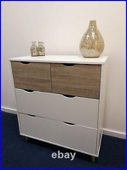 Scandinavian White Oak Chest of Drawers Storage Unit Table Cabinet Retro Scandi