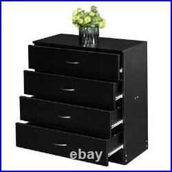 Set Of 2 Black 4 Drawer Chest Dresser Clothes Storage Bedroom Furniture Cabinet