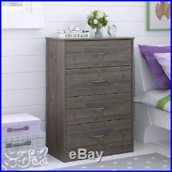 Set of 2 Bedroom Storage Dresser Chest 4 Drawer Wood Furniture Gray Rustic Oak