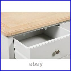 Shabby Two Tone Wide Chest of Drawers in Solid Oak and Grey- Bedroom Furniture