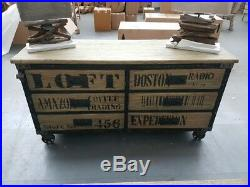 Sideboard Vintage Industrial 6 drawer Chest 160 cm Steampunk