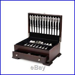 Silver Flatware Storage Set Box Chest Silverware Drawer Case Wood Vintage