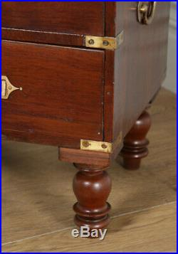 Small Antique Anglo Indian Solid Teak Brass Military Campaign Chest of Drawers