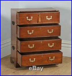 Small Antique English Victorian Teak & Brass Military Campaign Chest of Drawers
