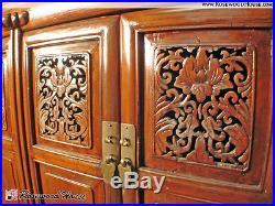 Solid Elm Wood Genuine Asian Antique Cabinet Carved Floral Chest Drawer Handmade