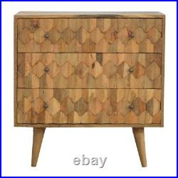 Solid Mango Wood Chest Of 3 Drawers Scandi Style Pineapple Carved Handmade