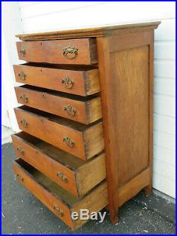 Solid Oak Early 1900s Tall Large Chest of Drawers 9586