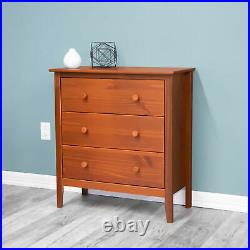 Solid Wood 3-Drawer Chest Traditional Bedroom Clothes Linen Storage Organizer