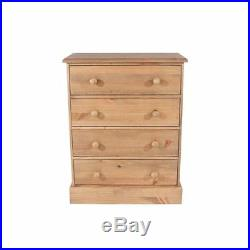 Solid Wooden Chest Of 4 Drawers-Wide Bedroom Furniture Draws-Waxed Pine Wood
