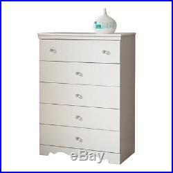 South Shore Crystal 5 Drawer Chest in Pure White Wood kids of drawers