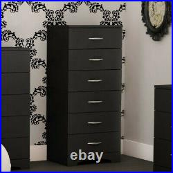 South Shore Maddox Single 6 Drawer Lingerie Chest in Black Finish