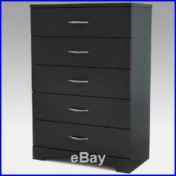 South Shore Step One 5-Drawer Chest Black, Black