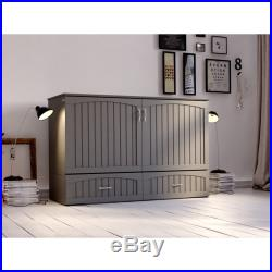Southampton Murphy Bed Chest Queen Grey with Charging Station