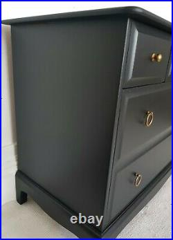 Stag Minstrel painted black mahogany chest of drawers, lowboy, shipping not free