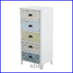 Storage Chest Unit 5 Drawer Retro Style Bedroom Desktop Wood White Entryway