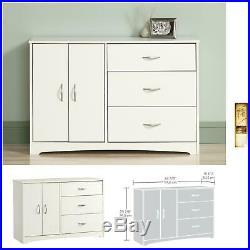 Storage Dresser Cabinet 3 Drawer Set Organizer Small White Furniture Chest