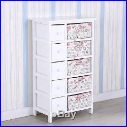 Storage Dresser Chest Cabinet Wood Bedroom Furniture with 5 Drawers 5 baskets