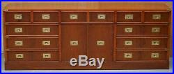 Stunning Vintage Burr Yew Wood Military Campaign Low Sideboard Chest Of Drawers