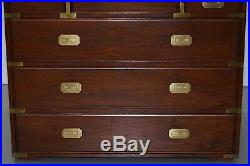 Stunning Vintage Military Campaign Chest Drawers Lovely Style Lots Of Storage