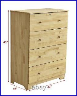 Super Jumbo Chest 4 Deep Drawers 100% Solid Pine Wood Storage Dresser with Lock