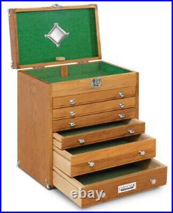 T16 Gerstner International 6 Drawer 14 Oak/Veneer Tool Chest withGreen Felt Liner