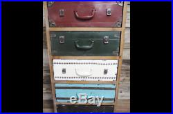 Tall Chest 5 Drawers Colourful Industrial Wooden Sideboard Storage Cabinet Unit