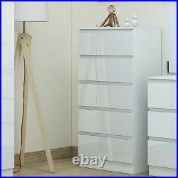 Tall White High Gloss 5 Drawer Chest. Matt Frame. Bedroom Office Playroom