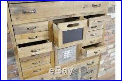 Tall Wood Multi Drawer Cabinet / Chest Vintage Look / Rustic Storage / Office