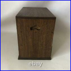 Tansu Wooden Small Chest of Drawers Brown Japanese Traditional Box 25 cm Vintage