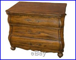 Three Drawer Transitional Style Oak Bombe' Chest/Nightstand