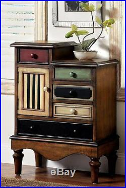 Traditional Wood Cabinet With Drawers Vintage Apothecary Chest Deco Home Furniture