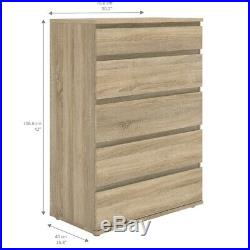 Tvilum Connect 5 Drawer Wide Chest in Oak Structure