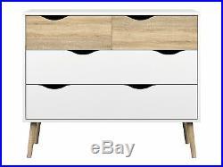 Tvilum Delta Collection 4-Drawer Chest in White/Oak Finish, 7539549ak New