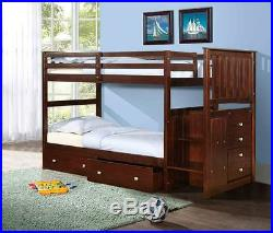Twin/Twin or Full Stairway Bunk Bed Donco Kids Wood withStorage Chest DFW