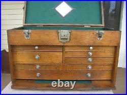 USA Gerstner oak machinist wood tool chest box 7 drawer