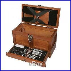 Universal Gun Cleaning Kit Rifle Shotgun Pistol Clean Set Wood Tool Drawer Chest